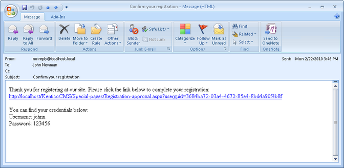 Registration approval and double opt in for Kentico email template
