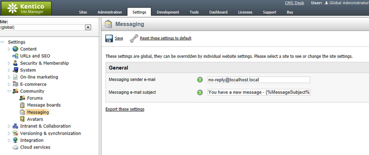 E mail notifications for Kentico email template