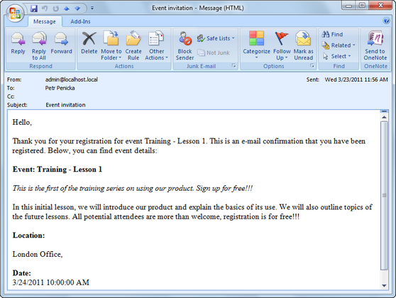 E mail invitations for Kentico email template