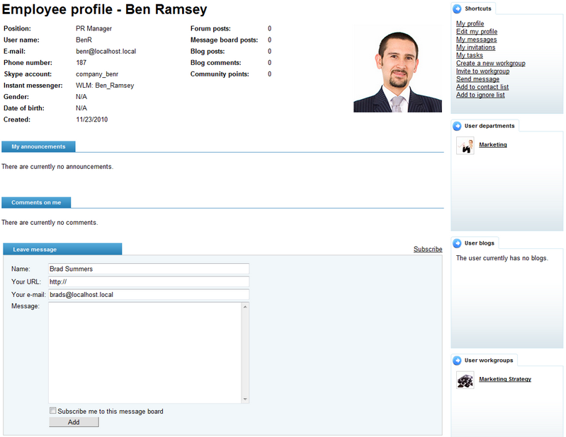 Kentico CMS 60 Intranet Users Guide – Employee Profile