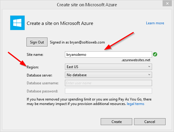 Azure Web App Settings