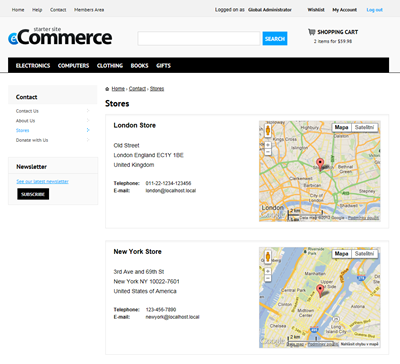 Kentico E-commerce Starter Site - Contact section
