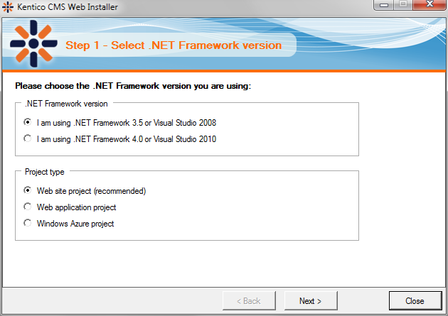 .NET Fx selection dialog