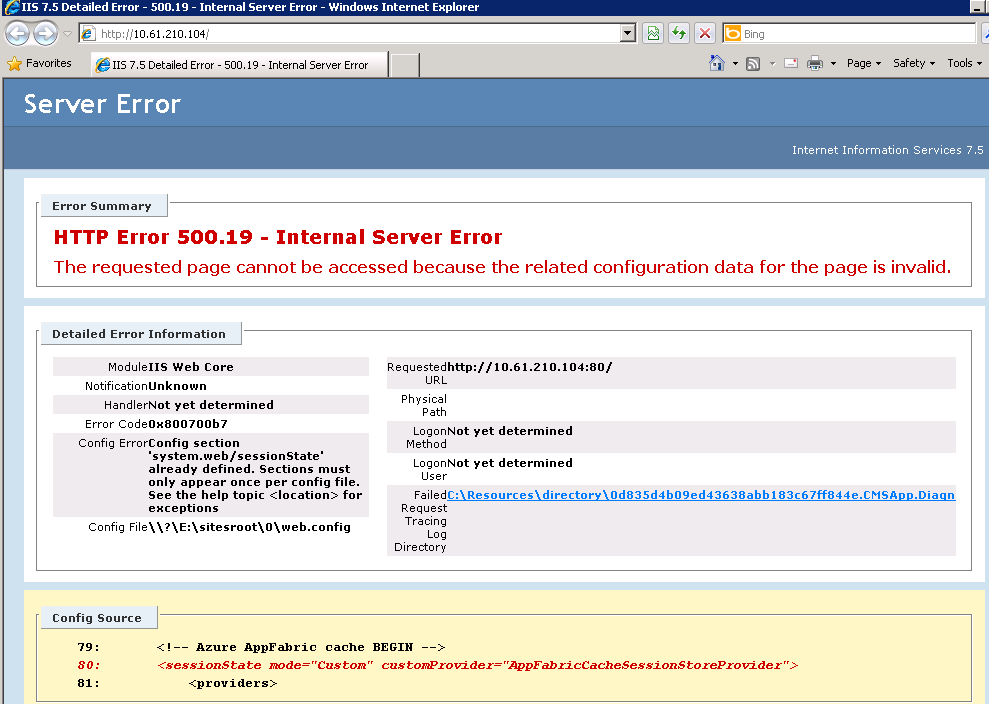 How to handle IIS errors on the Azure cloud hosting environment