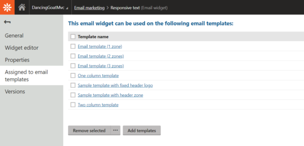 List of templates that support the widget