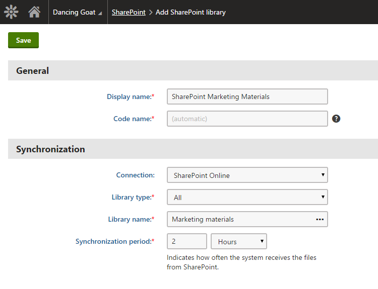 Add SharePoint library
