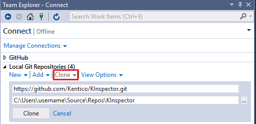 Cloning a repository from Visual Studio