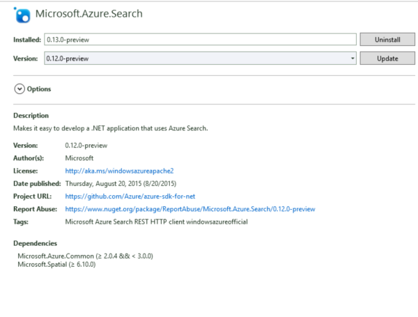 Azure Search SDK