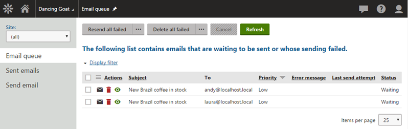 Screenshot of Email Queue