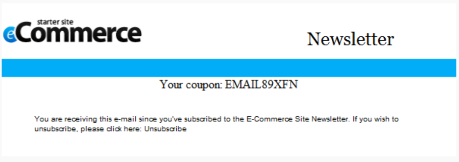 Coupons sent to email