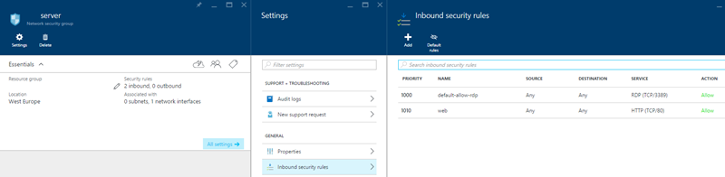 Setting up network security rules in Azure
