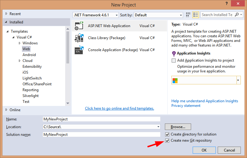 New Project window in Visual Studio 2015 with 'Create new Git repository' option checked
