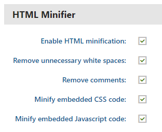HTML Minifier settings