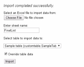 Custom Table Data Import preview