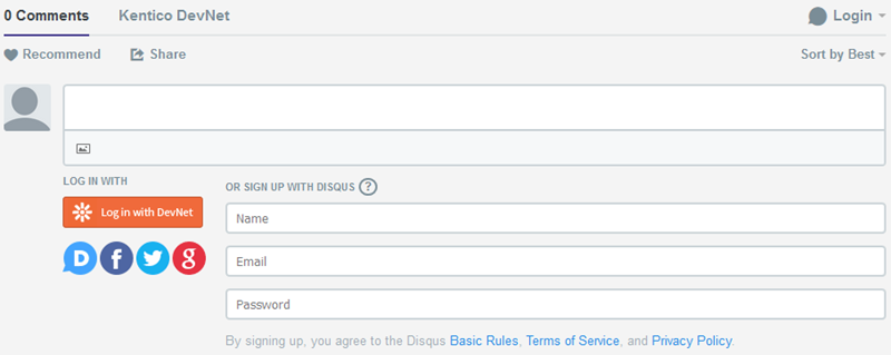 Disqus sign-in options