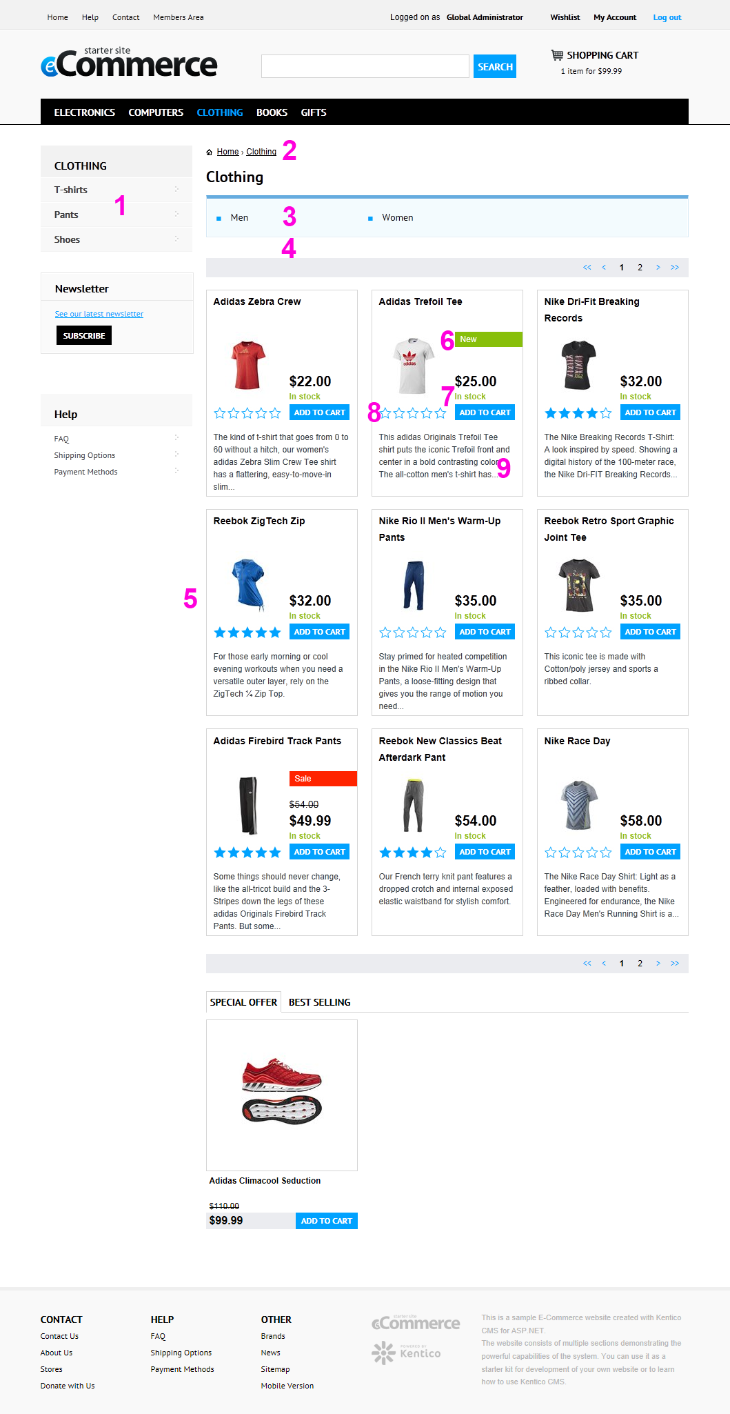 kentico cms 7: new e-commerce starter site, Invoice examples