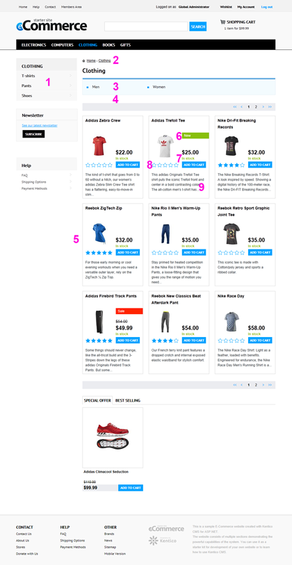 Kentico E-commerce Starter Site - Product List