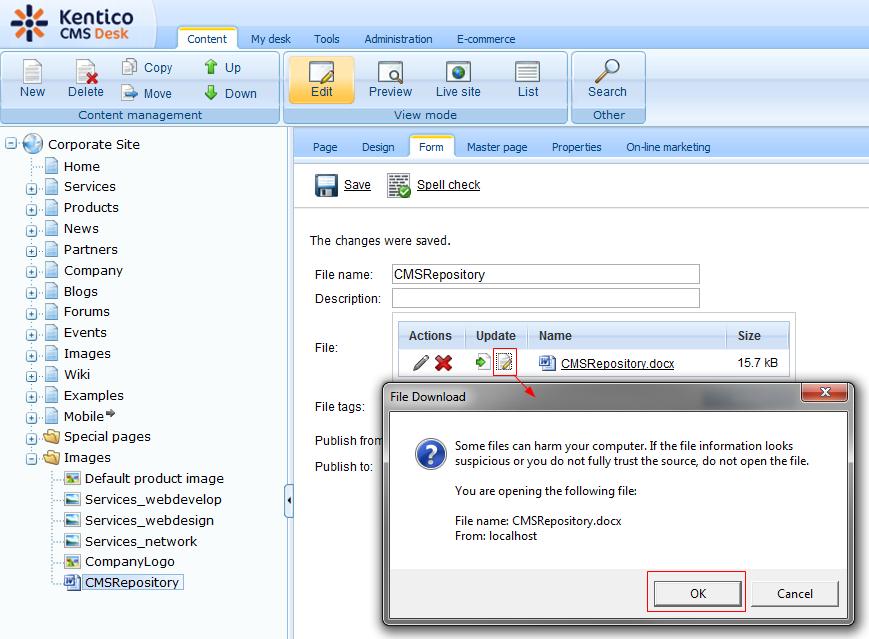 Kentico CMS and WebDAV support