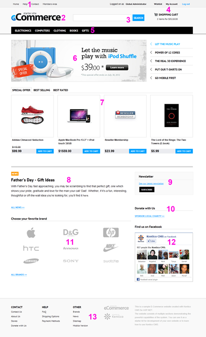Kentico E-commerce Starter Site - Home Page