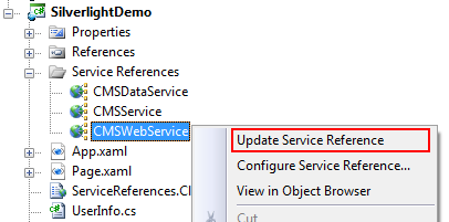 Update web service reference