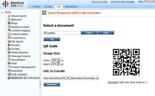 New and Free at the Marketplace: BizStream QR Code Generator