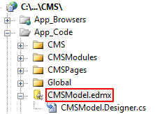 Entity data model in your web project folder