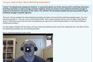 marketing automation in Kentico EMS video tutoria
